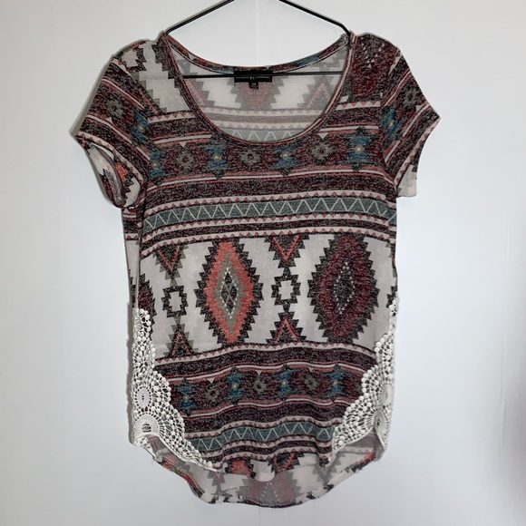 Almost Famous Tops - Almost Famous patterned top with lace Size M